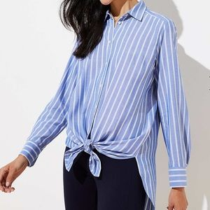 Loft Striped Tunic Button up, Dusty Cornflower